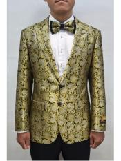 Gold & Black 2 Button Floral Pattern Fashion Prom Sport Coat