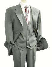 OS Falcone Mens Gray Single Breasted Three Button  Vest Fabric