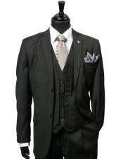 Mens Single Breasted Polyester ~ Rayon Black Vest Two Button Suit