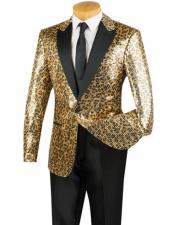 Mens Gold Leopard Designer  Dinner Jacket One Button Peak Lapel