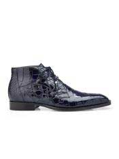 Authentic Belvedere Brand Cushion Insole Cap Toe Lace Up Stefano Navy