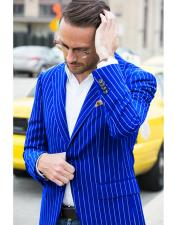 Royal ~ Blue Bold Chalk Pinstripe Blazer