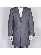 Dress Coat Single Breasted Notch lapel  Gray  Classic Herringbone Tweed Wool Three Button Carcoat