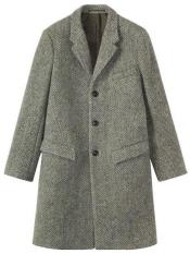 Dress Coat Three Button  Herringbone Tweed Wool Gray ~ Grey