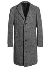 Dress Coat Single Breaste Full Length Tweed Herringbone Gray Overcoat