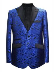 Mens Royal Blue Paisley Pattern  Blazer