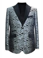 Grey ~ Gray Silver Black / White Paisley Pattern  Blazer