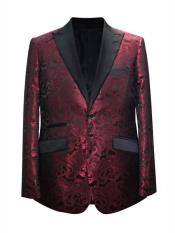 Mroon ~ Wine Paisley Pattern Blazer