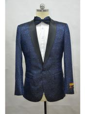Blue And Black Lapel Two Toned Paisley Floral Blazer Tuxedo Dinner Jacket Fashion Sport Coat