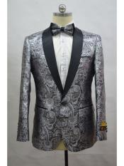 Silver And Black Two Toned Paisley Floral Blazer Tuxedo Dinner Jacket Fashion