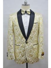 & Gold Champagne Two Toned Paisley Floral Blazer Tuxedo Dinner Jacket Fashion Sport Coat