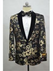 Black And Gold Two Toned Paisley Floral Blazer Tuxedo Dinner Jacket Fashion