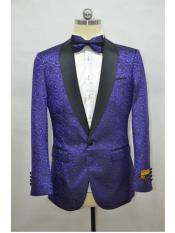 Purple and Black Two Toned Paisley Floral Blazer Tuxedo Dinner Jacket Fashion Sport Coat + Matching Bow