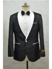 And White Two Toned Paisley Floral Blazer Tuxedo Dinner Jacket Fashion