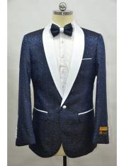 Blue And White Two Toned Paisley Floral Blazer Tuxedo Dinner Jacket Fashion Sport Coat + Matching Bow