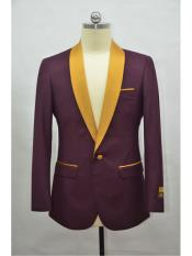 Mens Blazer Burgundy ~ Gold Tuxedo Dinner Jacket and Blazer Two Toned