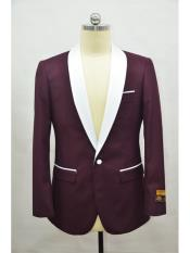 Mens Blazer Burgundy ~ White Tuxedo Dinner Jacket and Blazer Two Toned
