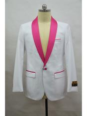 Blazer  White ~ Fuschia Tuxedo Dinner Jacket and Blazer Two Toned