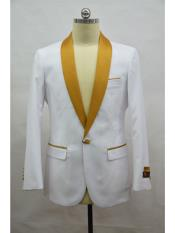 Mens Blazer  White ~ Gold Tuxedo Dinner Jacket and Blazer Two