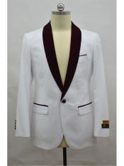 Blazer  White ~ Burgundy Tuxedo Dinner Jacket and Blazer Two Toned