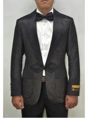 Black-Black Dinner Smoking Jacket Blazer