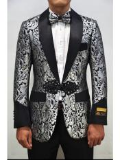 Mens Silver-Black One Button Blazer