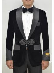Nardoni Dinner Smoking Jacket Blazer Sport Jacket Black ~ Black Tuxedo Velvet ~ Velour Smoking Coat