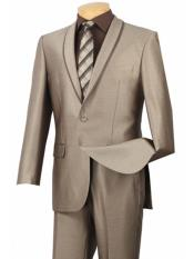 Beige ~ Tan ~ Khaki 1 Button Shawl Collar Tuxedo