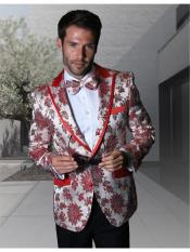 Mens Paisley ~ Floral ~ Flower  Fancy White And Red