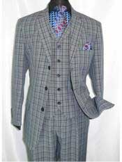 Plaid ~ Window ~ Checker Pane Three Buttons Dark Navy Suit