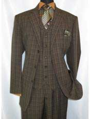 Brown Three Buttons Style Vested Suit