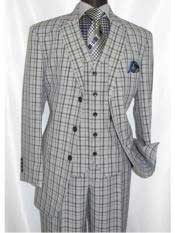 ~ Grey Windowpane Pattern Three Buttons Suits