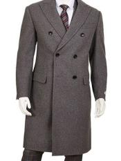 Dress Coat Gray Double Breasted Five Button Wool ~ Poly Blend