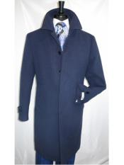 Coat Navy Covered Button