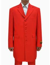 Red Single Breasted Seven Button Zoot Suits