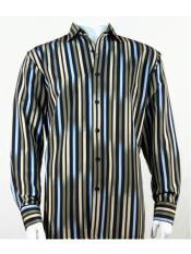 Mens Bassiri Button Down Long  Sleeve Multi Stripes Green  Microfiber Shirt