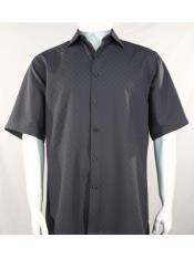 Mens Bassiri Button Down Short Sleeve Shadow Squares Grey