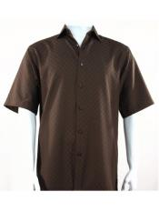 Bassiri Button Down Short Sleeve Shadow Squares Chocolate Shirt