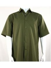 Mens Bassiri Button Down Short Sleeve Shadow Squares Olive Shirt