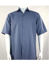 Mens Bassiri Button Down Short Sleeve Shadow Squares Blue Shirt