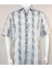 Mens Bassiri Button Down Short Sleeve Pattern Stripe Black ~ White