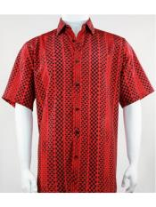 Mens Bassiri Button Down Short Sleeve Geo Pattern Red Shirt