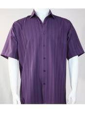 Mens Bassiri Button Down Short Sleeve Shadow Stripe Purple Shirt