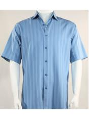 Bassiri Button Down Short Sleeve Shadow Light Blue Shirt