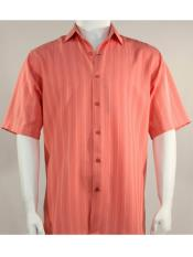 Mens Bassiri Button Down Short Sleeve Shadow Stripe Coral Shirt