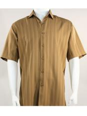 Mens Bassiri Button Down Short Sleeve Shadow Stripe Light Brown Shirt