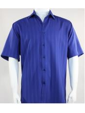 Mens Bassiri Button Down Short Sleeve Shadow Stripe Blue Shirt