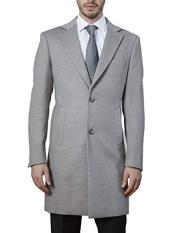 Light GreyModern Fit Polyester Topcoat