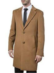 Camel Modern Fit Single Back Vent  Dress Coat