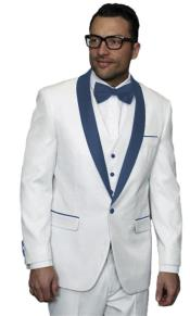 Alberto Nardoni White Tuxedo Navy Blue Lapel Jacket Vested 3 Pieces